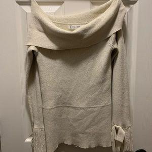 Off the shoulder elegant tan sweater